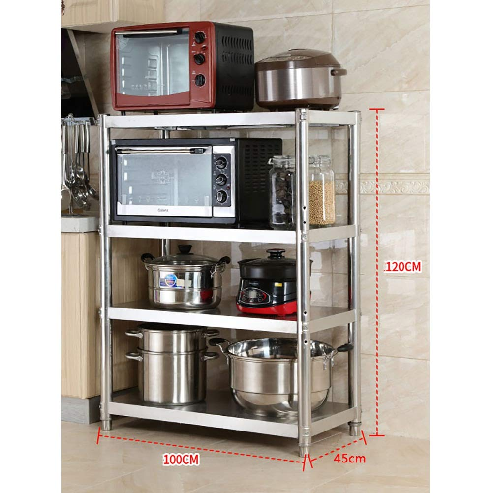 MM 4 Shelf Wire Shelving Unit, Stable Stainless Steel Shelving Unit, Loadable 320KG, Kitchen Shelf Rack, Works Anywhere, Microwave Oven Rack (Size : 100cm × 45cm × 120cm)