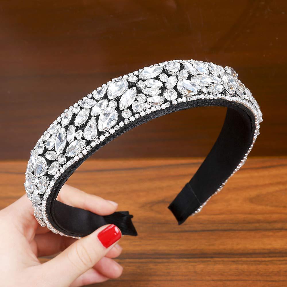 Large Padded Cloth Races Goth Wedding Headpiece for Women AWAYTR Velvet Padded Rhinestone Baroque Headband
