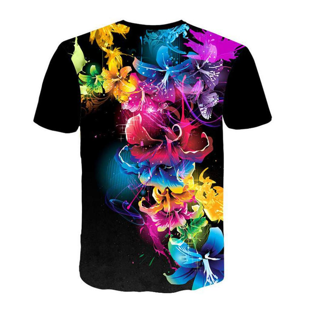 Mens Printed Color Short Sleeve T-Shirt,NDGDA 3D Flood T-Shirt Top Blouse Round Neck Tee