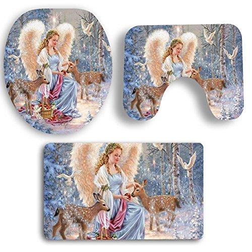 Wakeu Christmas Bath Mat Set, Pedestal Rug + Lid Toilet Cover + Bath Mat Xmas Bathroom Decorations Set (Angel and (Angel Snowman)