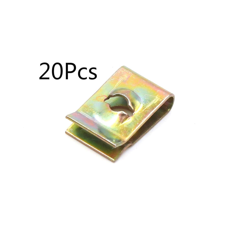 20 Pezzi ALONGB Vite di Fissaggio a Molla Rivetto a U Clip Rivetto Foro 3mm 17x11x5mm