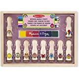 Melissa & Doug Deluxe Happy Handle Stamp Set With 10 Stamps, 5 coloured Pencils, and 6-colour Washable Ink Pad