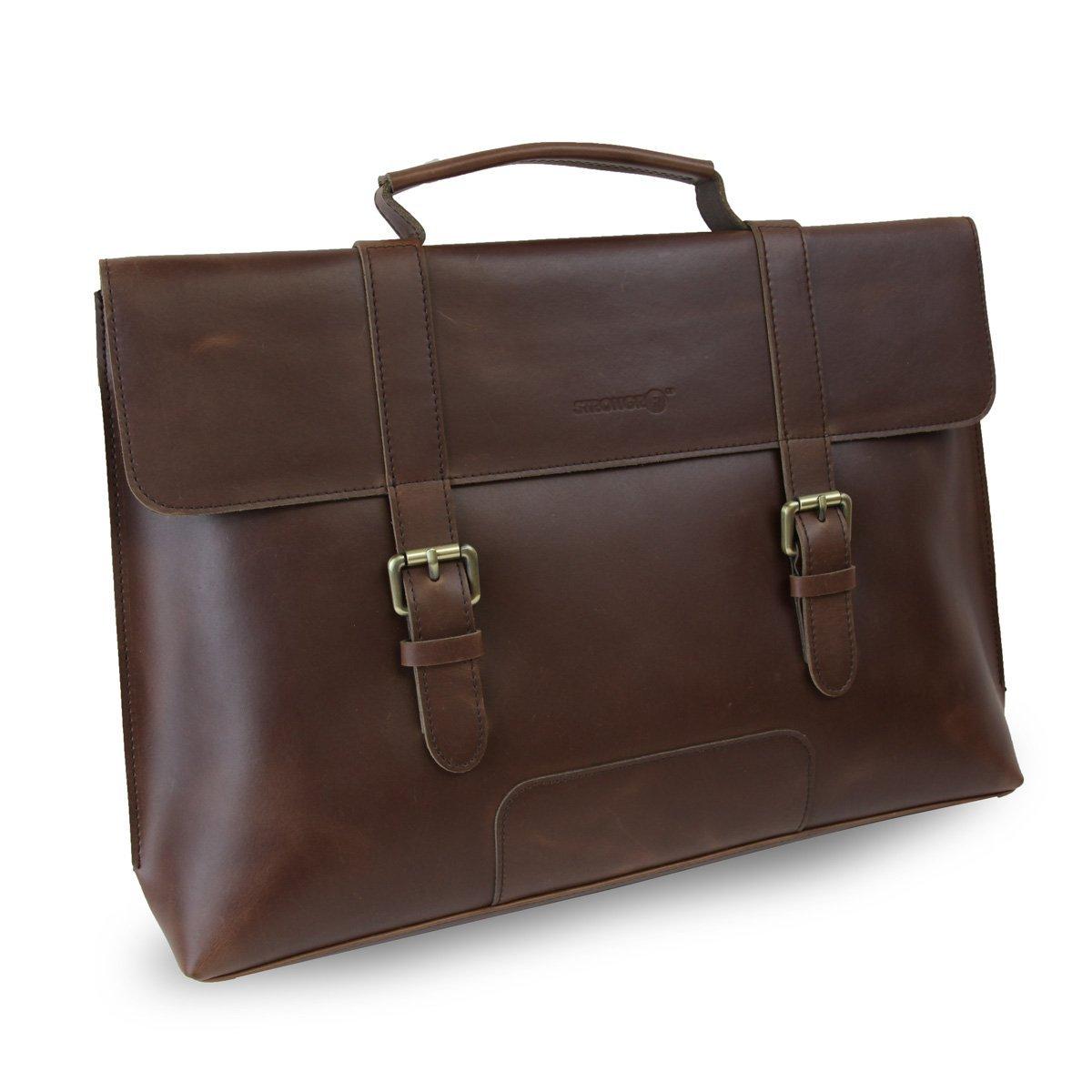 Strongrr Single Piece Brown Professor Briefcase, Vinyl 17-inch Laptop Attach Briefcase, Locking, Business, Laptop, Solid Pattern, Phone Compartment, laptop briefcase 17