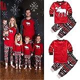 Family Matching Christmas Stripes Deer Pajamas for Kids Mon and Dad Pjs Sets Sleepwear (L, Men)