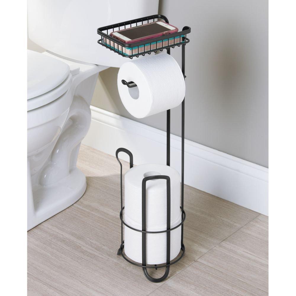 Dispenser and Spare Roll Storage for Bathroom InterDesign York Lyra Free Standing Toilet Paper Holder with Shelf Matte Satin 79265