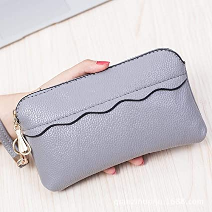 3d36fcfb380 Amazon.com: Junson Leather Purse Women's Wallet,Middle-and-Large Lady Wallet  Mobile Bag 11 1 21cm (Color : B): Sports & Outdoors