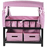 Naomi Kids Canopy Doll Crib with Baskets Espresso