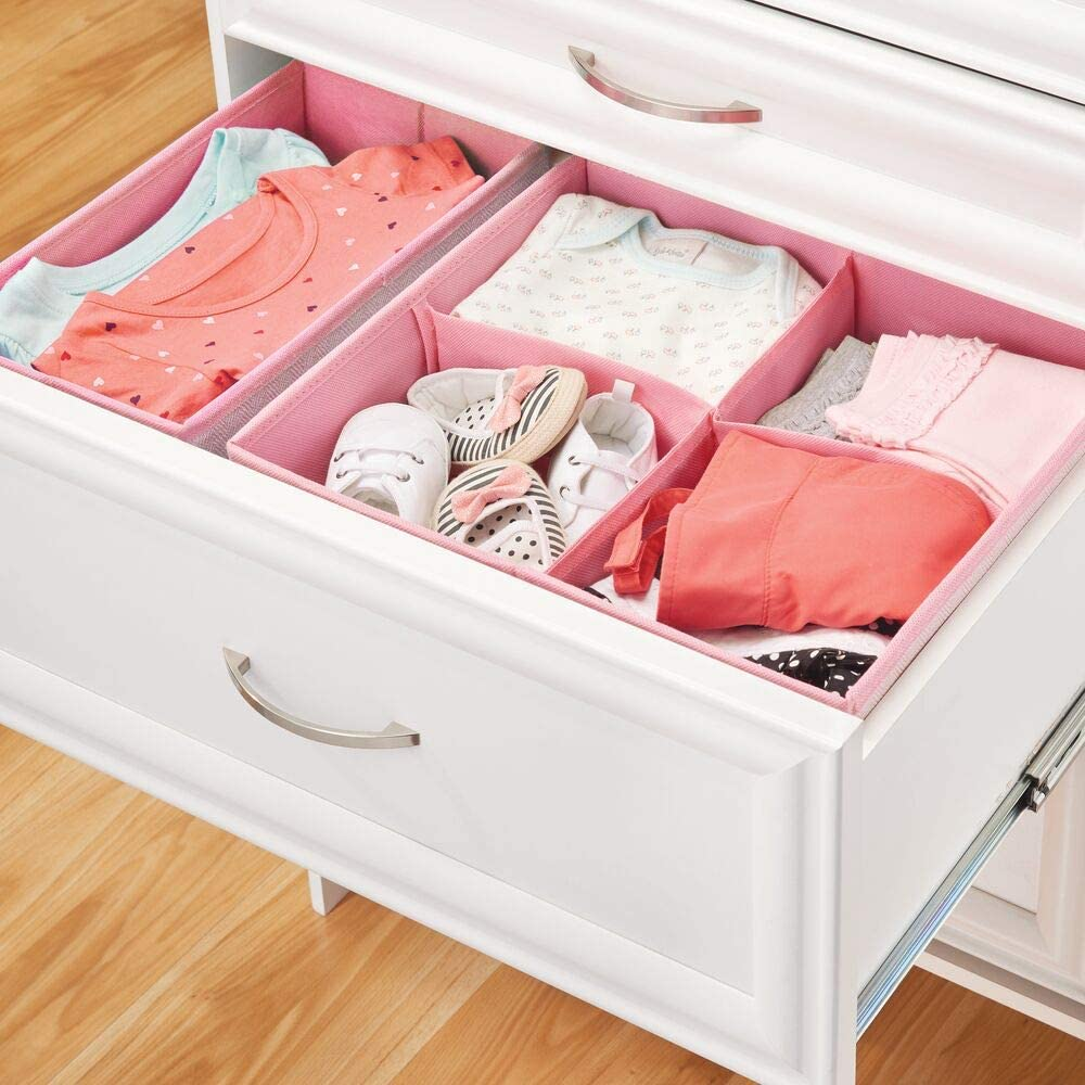 mDesign 2er-Set Aufbewahrungsbox f/ür das Kinderzimmer rosa//wei/ß Kinderschrank Organizer aus Kunstfaser Kinderzimmer Aufbewahrungsbox mit acht F/ächern Bad usw