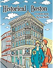 Historical Boston Coloring Book: 24 original detailed illustrations of landmark buildings and 1920's fashion