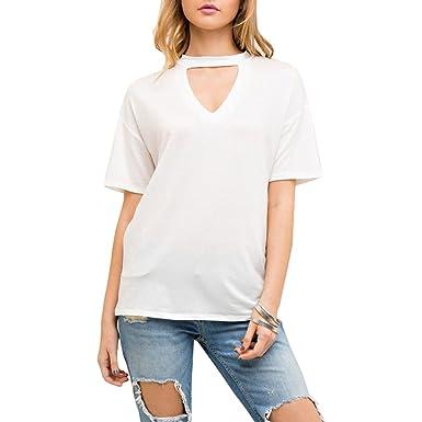 6299ae0b89d8 Yeesea Summer Women s Choker V Neck Blouse Tops Short Sleeve T-Shirts Loose  Solid Tee