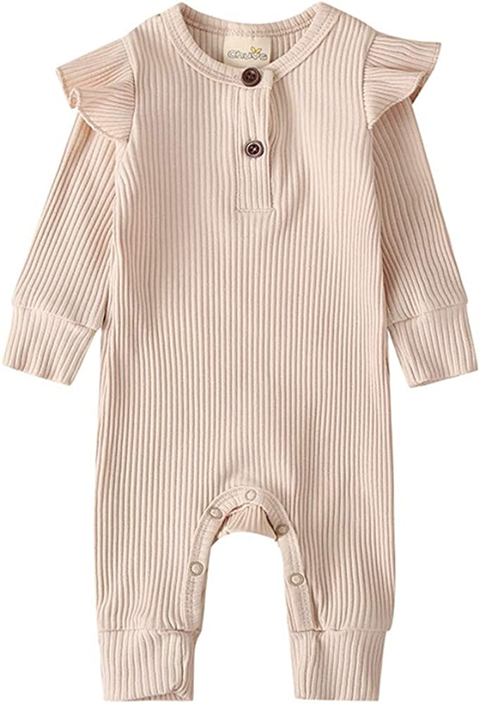 Lelloing Newborn Baby Boy Long Sleeve Romper Infant Girls Solid Color Footed Onesie Ribbed Jumpsuit Unisex Basic Pajamas