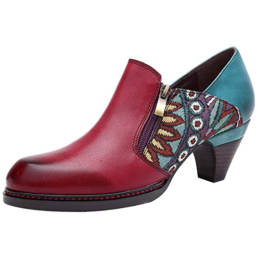 5d98a1f4f1023 Mordenmiss Women's Handmade Vintage Pumps Heeled Patchwork Leather Ankle  Booties with Zipper