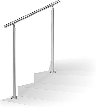 balcon balustrade LZQ 120cm Main courante en acier murale Garde-corps inoxydable avec 2 poteaux traverses pour escaliers