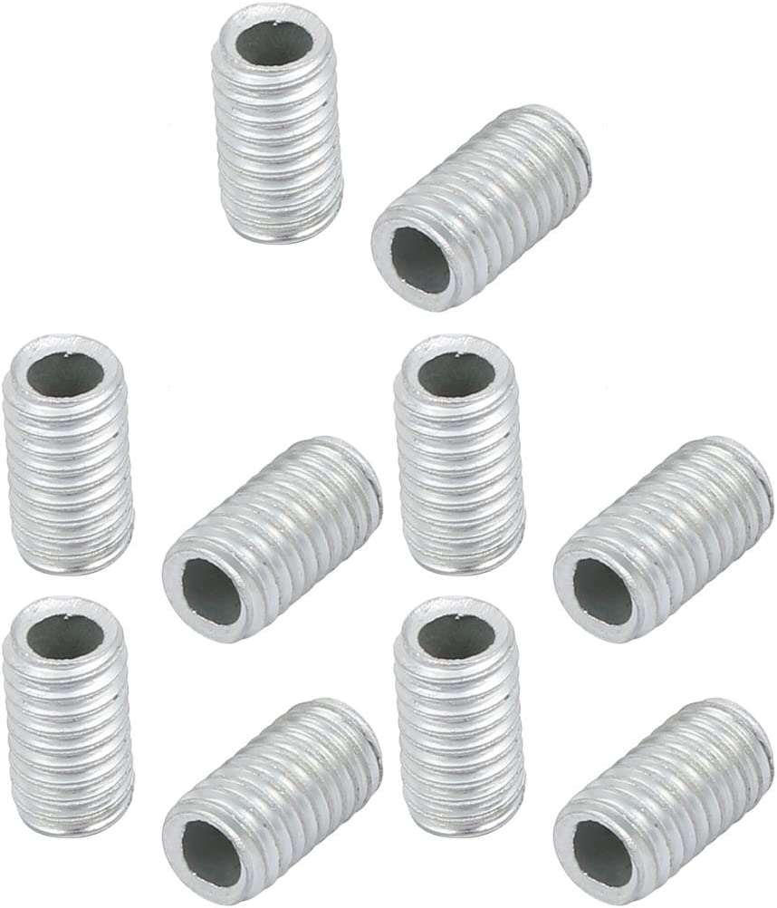 sourcingmap/® 10Pcs M6 Full Threaded Lamp Nipple Straight Pass-Through Pipe Connector 10mm Length