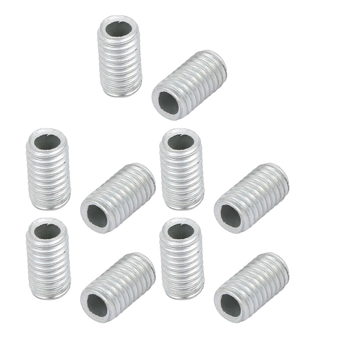 uxcell 10Pcs M6 Full Threaded Lamp Nipple Straight Pass-Through Pipe Connector 10mm Length