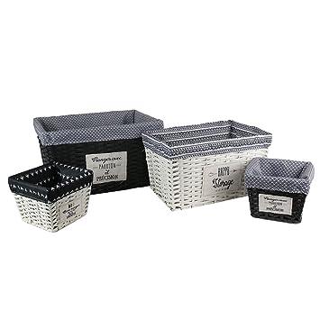 9de513c7063c Idebox RG5983 Panier Façon Osier-4 Pcs, Coton Metal PE Polyester, Blanc Noir