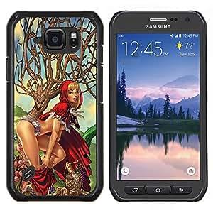 Caperucita Roja Carácter Sexy polluelo Mujer- Metal de aluminio y de plástico duro Caja del teléfono - Negro - Samsung Galaxy S6 active / SM-G890 (NOT S6)