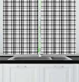 Ambesonne Plaid Kitchen Curtains, Black and White Tartan Pattern Graphic Grid Art Design with Traditional Influences, Window Drapes 2 Panel Set for Kitchen Cafe, 55 W X 39 L Inches, Black White Review