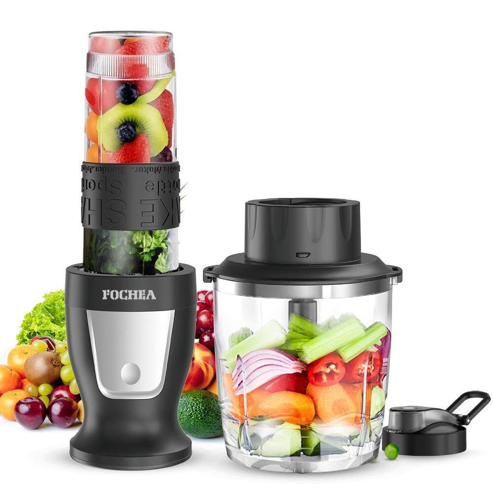 Smoothie Blender, Food Processor Personal Blender With a 570ml Travel Bottle - Stainless Steel Body, Big Button Design, Black,300 Watt