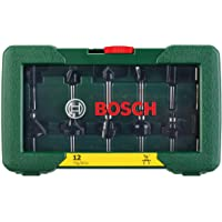 """Bosch 2607019465-000, Jogo de Fresas Bosch, H1/4"""", Verde, 12 Peças"""