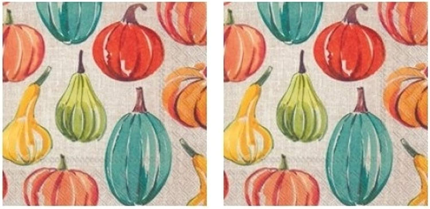 Coastal Pumpkin Time 3-Ply Paper Cocktail Napkins 40-Count, Fall Autumn Coastal Decor Barware Beverage Serviettes
