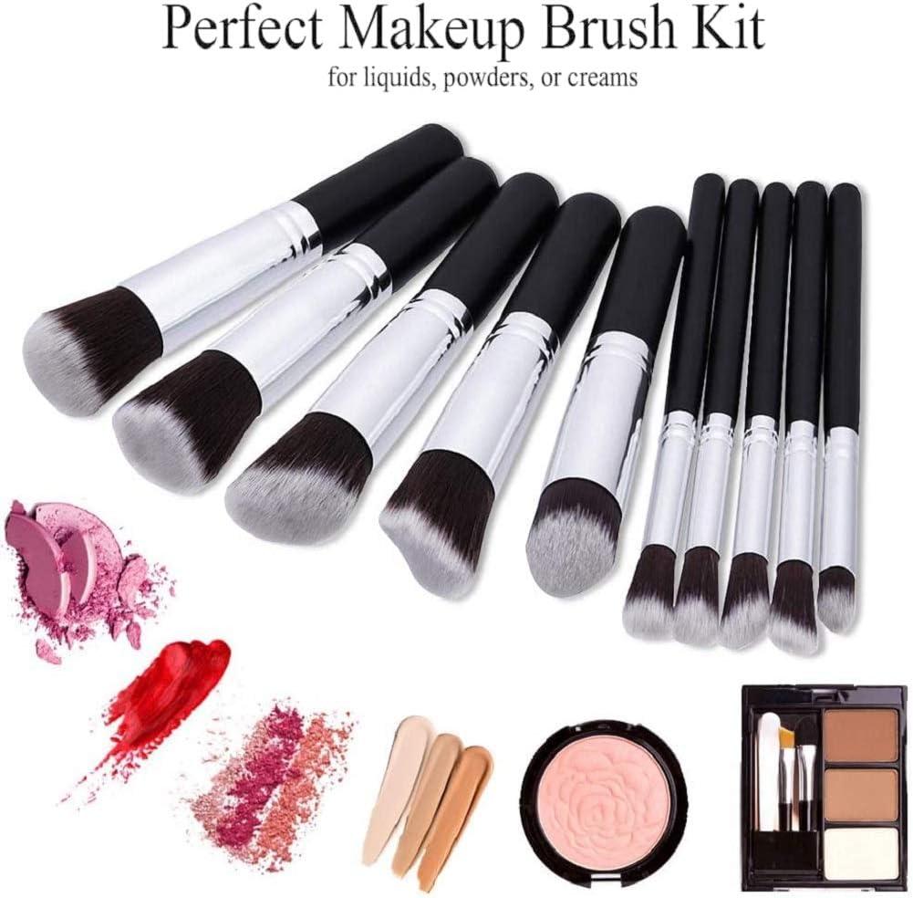 EONO Essential Set de Brochas de Maquillaje Profesional, Synthetic Kabuki Premium para Base Polvos Colorete Contorno, con Esponja y Limpiador de Cepillo (10+2 Piezas, Negro/Plateado): Amazon.es: Belleza
