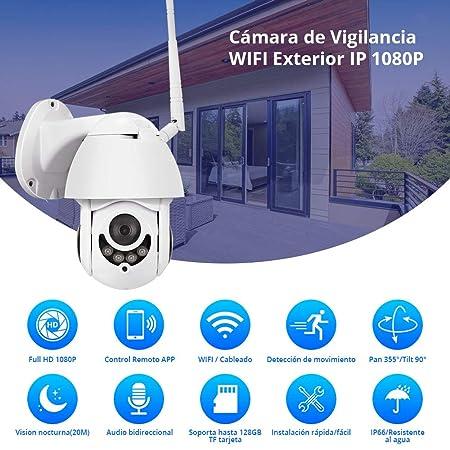 FUERS Cámara de Vigilancia WiFi Exterior, Cámara IP 1080P ...