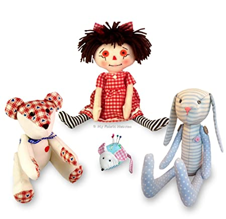 4 X Sewing PATTERNS Independent Design. Rag Doll, Teddy Bear, Mouse ...