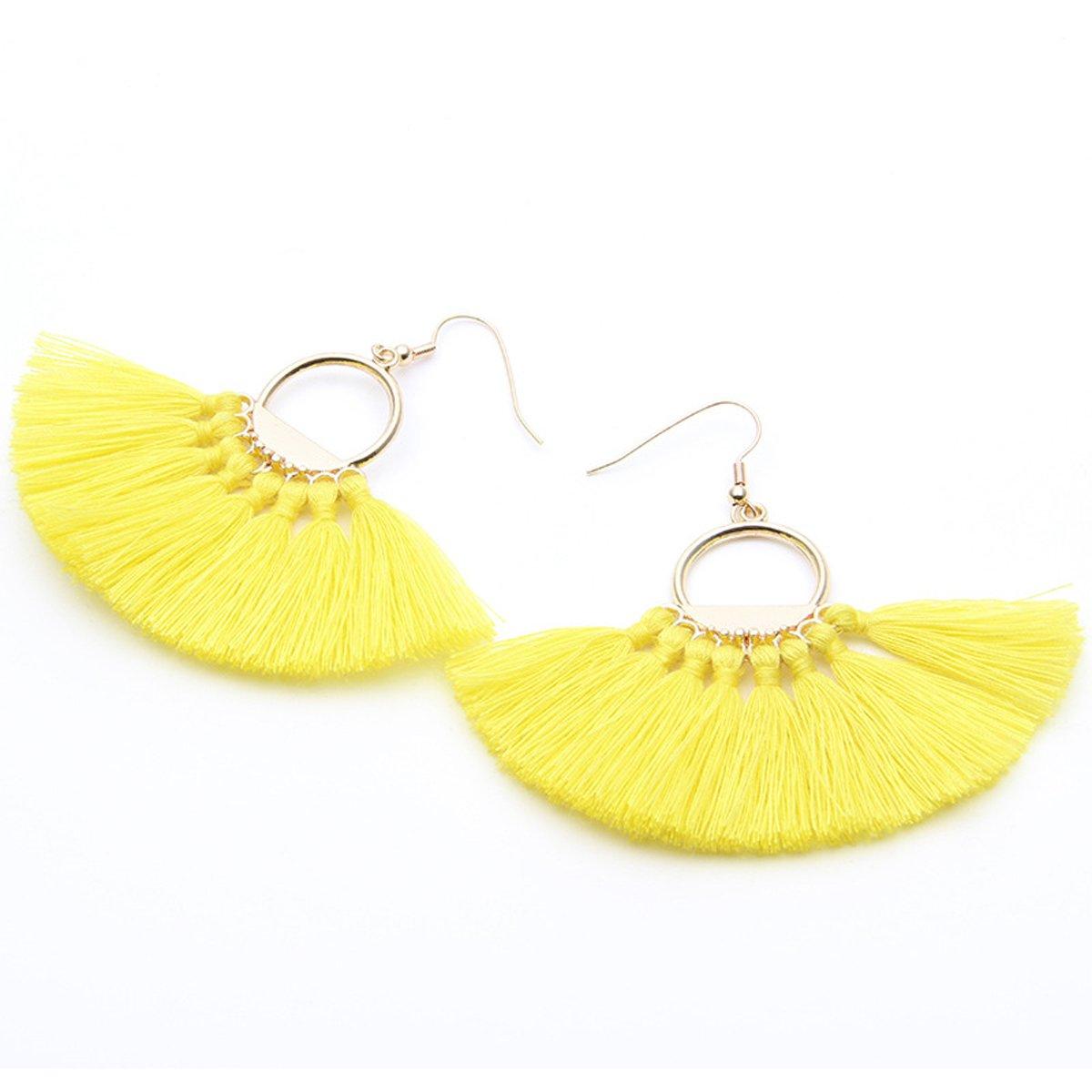 Semicircle Fan Shape Tassel Earrings Hoop Dangle Ear Drop Soriee for Women
