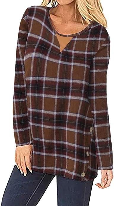 FAMILIZO Camisetas Mujer Verano Blusa Elegante Fiesta Sin Hombros Tallas Grandes Camisas Lado De Mujeres Botones De Manga Larga A Cuadros Túnica Suéter Codo Parcheado Blusa Suelta: Amazon.es: Ropa y accesorios