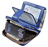 Beurlike Women's RFID Credit Card Holder Organizer Case Leather Security Wallet (Blue)