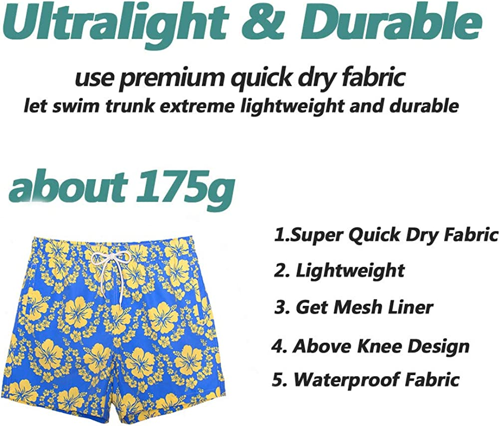vxsvxm Beach Shorts Swim Trunks Quick Dry Mens Bathing Suit with Mesh Lining//Side Pockets