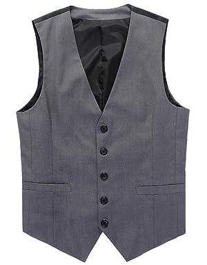 Slim Fit Men Formal Work Wear Suit Vest Patchwork Design V Neck Waistcoat