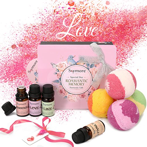 Skymore Top 8 Essential Oils with Bath Bomb Set, 100% Pure Natural Fragrance Oils for Diffuser 4 X 10ML, 4 Bath Bombs for Spa Aromatherapy Mother's Day Gift Set (Like, Love, Marriage, Family)
