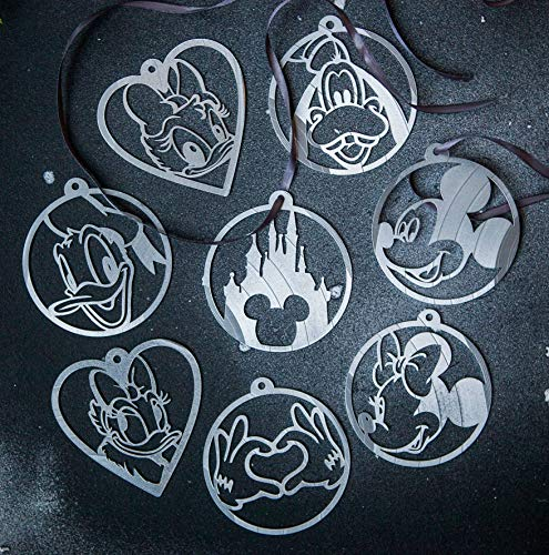 Disney Christmas Decorations Silver Vinyl Record Disney World Castle Christmas Decor Disney Ornament Set X-mas Tree Vintage Retro Mickey Ornament, Minnie Ornament Christmas Tree Decorations Decor