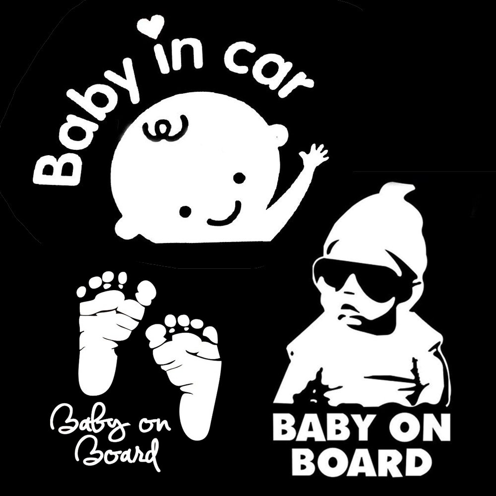 TownStix [3-in-1] Baby on Board, Baby in Car, Footprint, Window Decal Stickers BOB