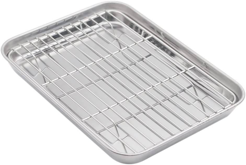 Aspire Baking Sheet with Rack Set, Stainless Steel Cookie Sheet and Cooling Rack, 12.5 Inch X 9.5 Inch X 1 Inch