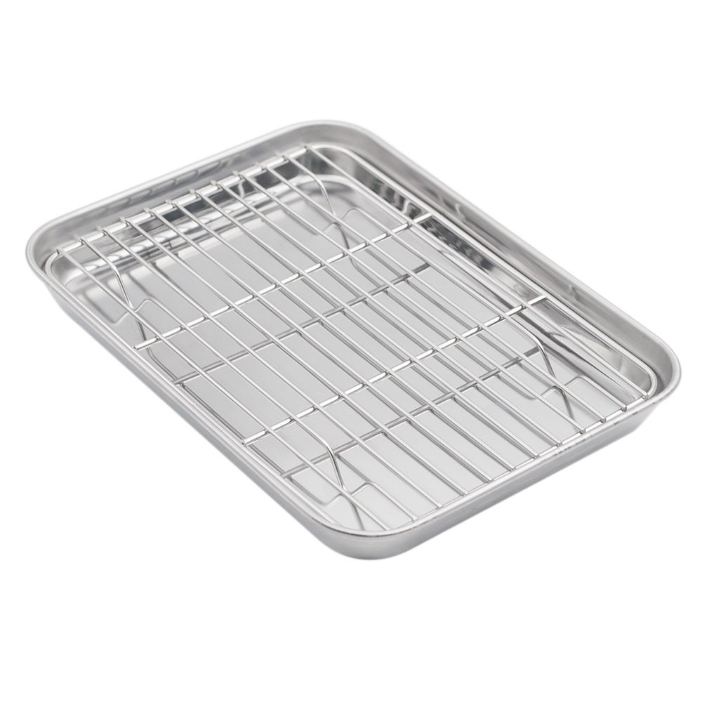 Aspire Baking Sheet with Rack Set, Stainless Steel Cookie Sheet & Cooling Rack, 9.5 X 7 X 1