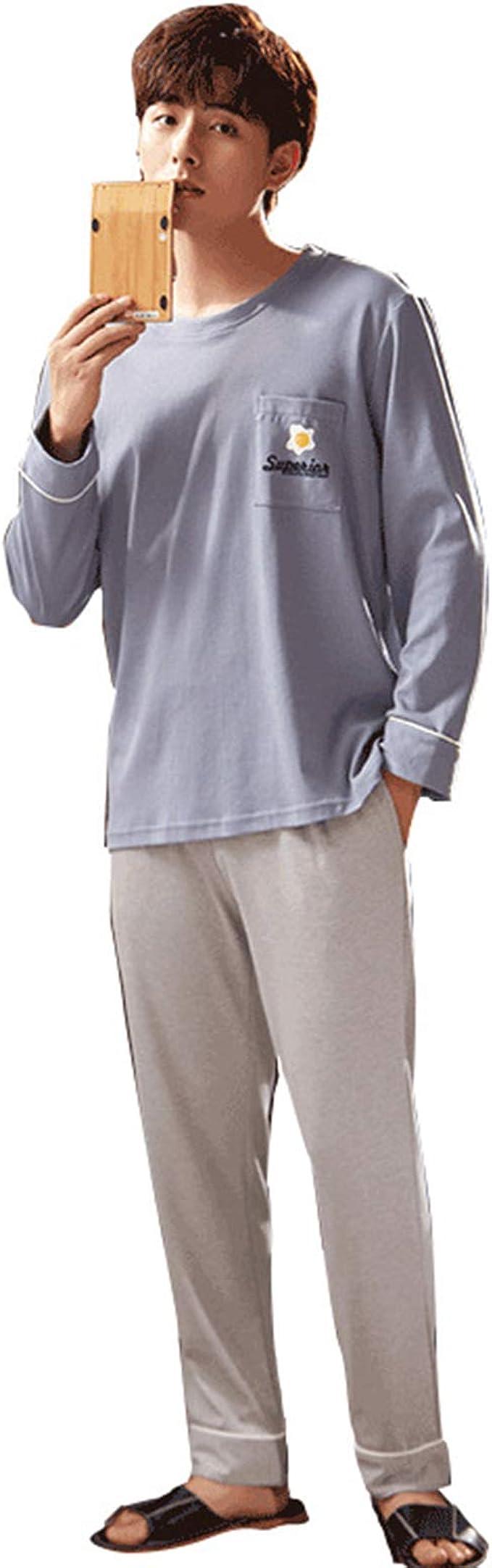 Pijamas para Hombre Largo Ropa de Dormir Cuello en O Manga ...