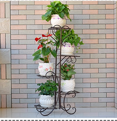 Five layers of iron creative multilayer flower racks balcony living room indoor flowerpot rack-B 201040inch(5025100cm) by Fashion decoration home
