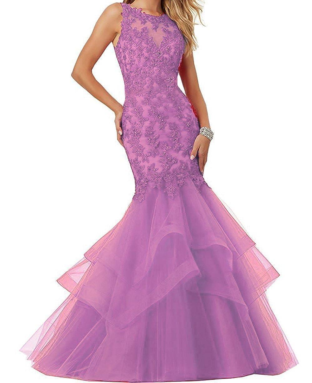purplec Ellenhouse Women's Applique Tulle Long Mermaid Prom Party Evening Dresses EL189