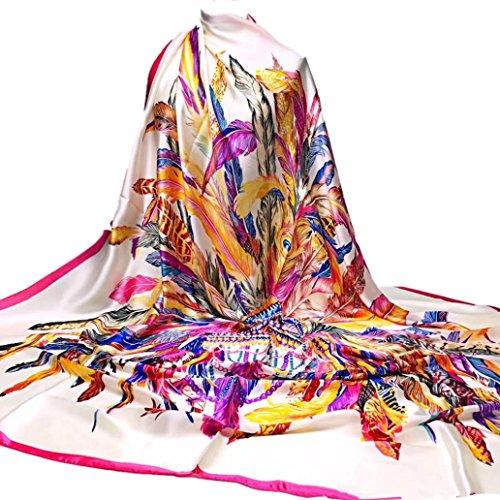 Silk-Satin Square Scarf, Women Feather &