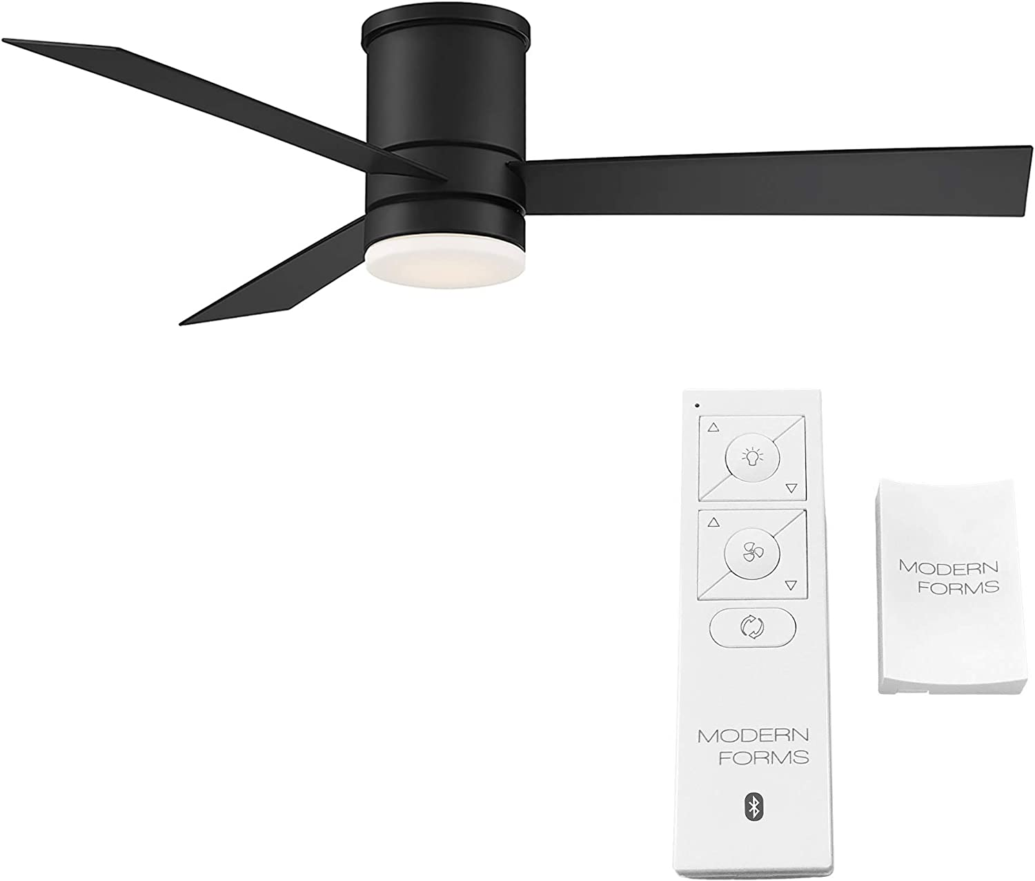 Modern Forms FH-W1803-52L-35-MB Axis Flushmount Smart Home Ceiling Fans, 52in Blade Span, Matte Black