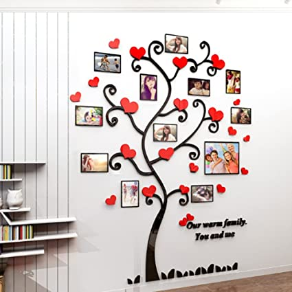 08ba9a25792 Alicemall 3D Wall Stickers Photo Frames Family Tree Wall Decal Red Heart  Photo Gallery Frame Decor
