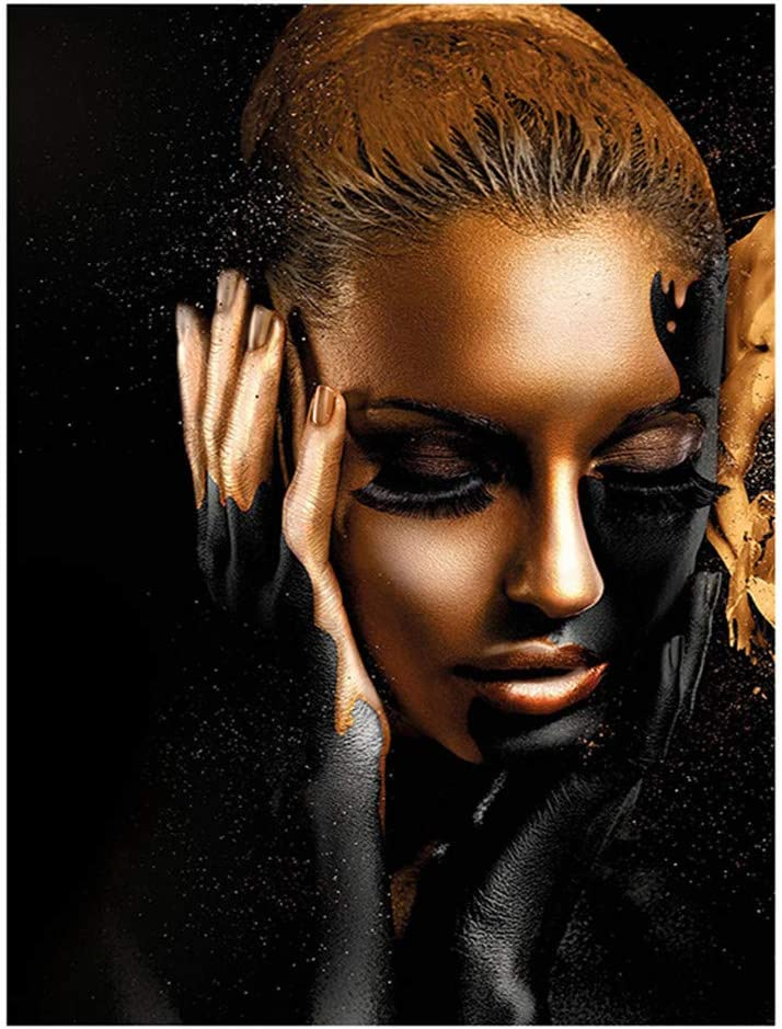 Chica Afroamericana Impresión En Lienzo Arte De La Pared Decoración Modelo De Moda Femenina Con Maquillaje Negro Y Dorado En La Cara Cartel Abstracto De La Mujer Negra, No Enmarcado,60x90cm