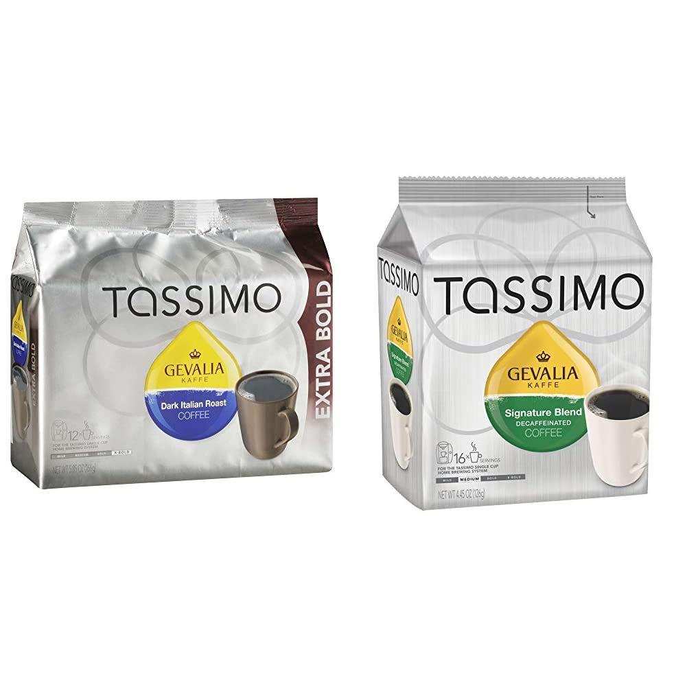 Gevalia Dark Italian Roast Coffee T-Discs for Tassimo Brewing Systems (12 T-Discs) & Gevalia Signature Decaf Medium Roast Tassimo Coffee Brewing Pods (16 Count)