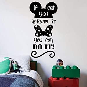 You Can Do It Quote Mickey Mouse Walt Disney Cartoon Quotes Wall Sticker Art Decal for Girls Boys Room Bedroom Nursery Kindergarten Fun Home Decor Stickers Wall Art Vinyl Decoration Size (20x18 inch)