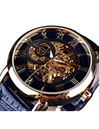 Men's Skeleton Leather Band Hand-wind Mechanical Sport Army Military Wrist Watch