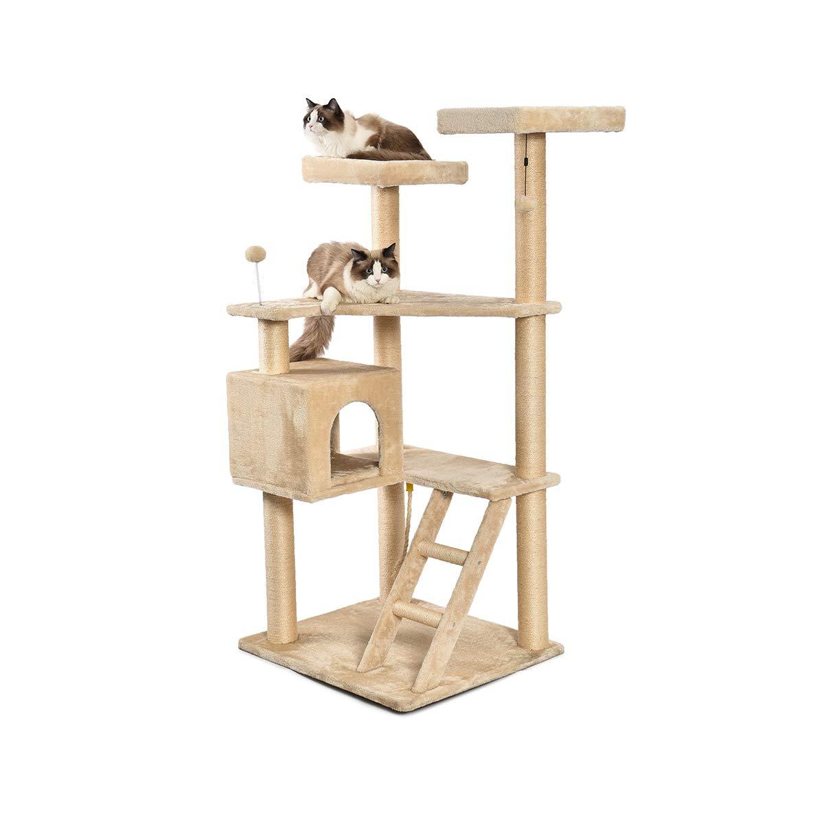 AmazonBasics Extra Large Multi-Level Cat Tree with Condo And Step Ladder - 31.5 x 70.5 x 29 Inches, Beige by AmazonBasics