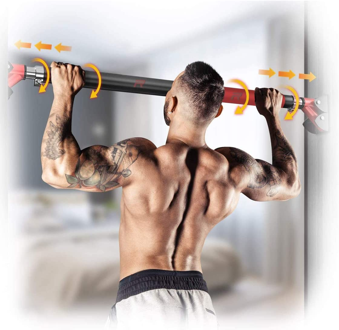 Upper Arm and Abdominal Trainer pull-up bar up to 400kg 880lb 28.3in-36.2in Sturdy Steel RHINOSPORT Adjustable Pull-up Bar Door Bar for Pull-ups NO SCREW Door Bar for Doors from 72-92 cm